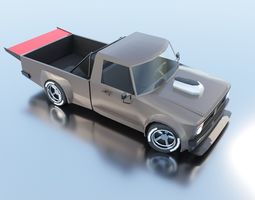 low poly pickup muscle car 3D model low-poly