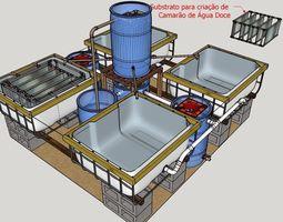 Sistema de Recirculacao RAS para Cultivo de Camaroes 3D