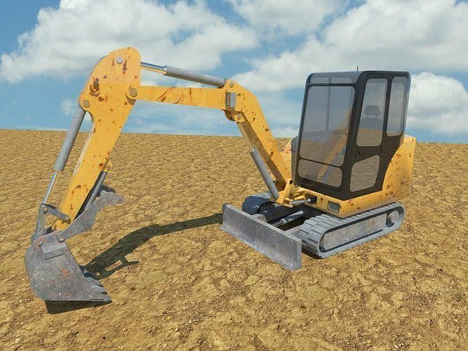 digger 3d model low-poly obj 3ds fbx mtl 1