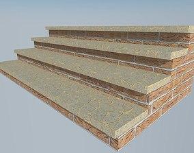 3D asset long brick stairs