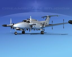 Beechcraft RC-12N Guardrail Bare Metal 3D