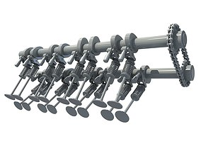 Camshaft and Engine Valves 3D