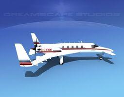 beechcraft starship 2000 t09 3d animated