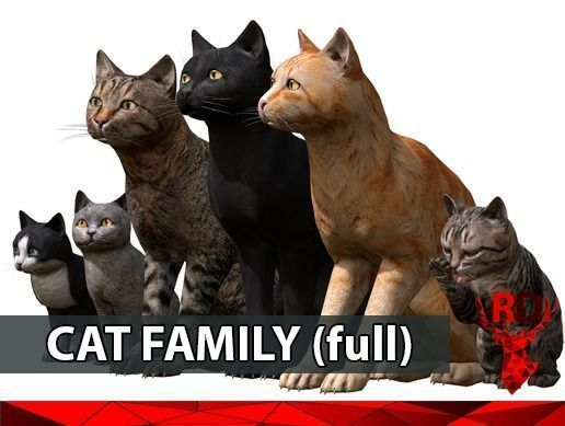 cat family 3d model low-poly rigged animated fbx blend 1