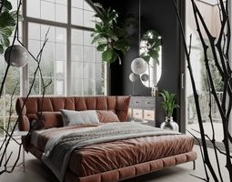 3D Husk Bedroom Scene for Cinema 4D and Corona Renderer