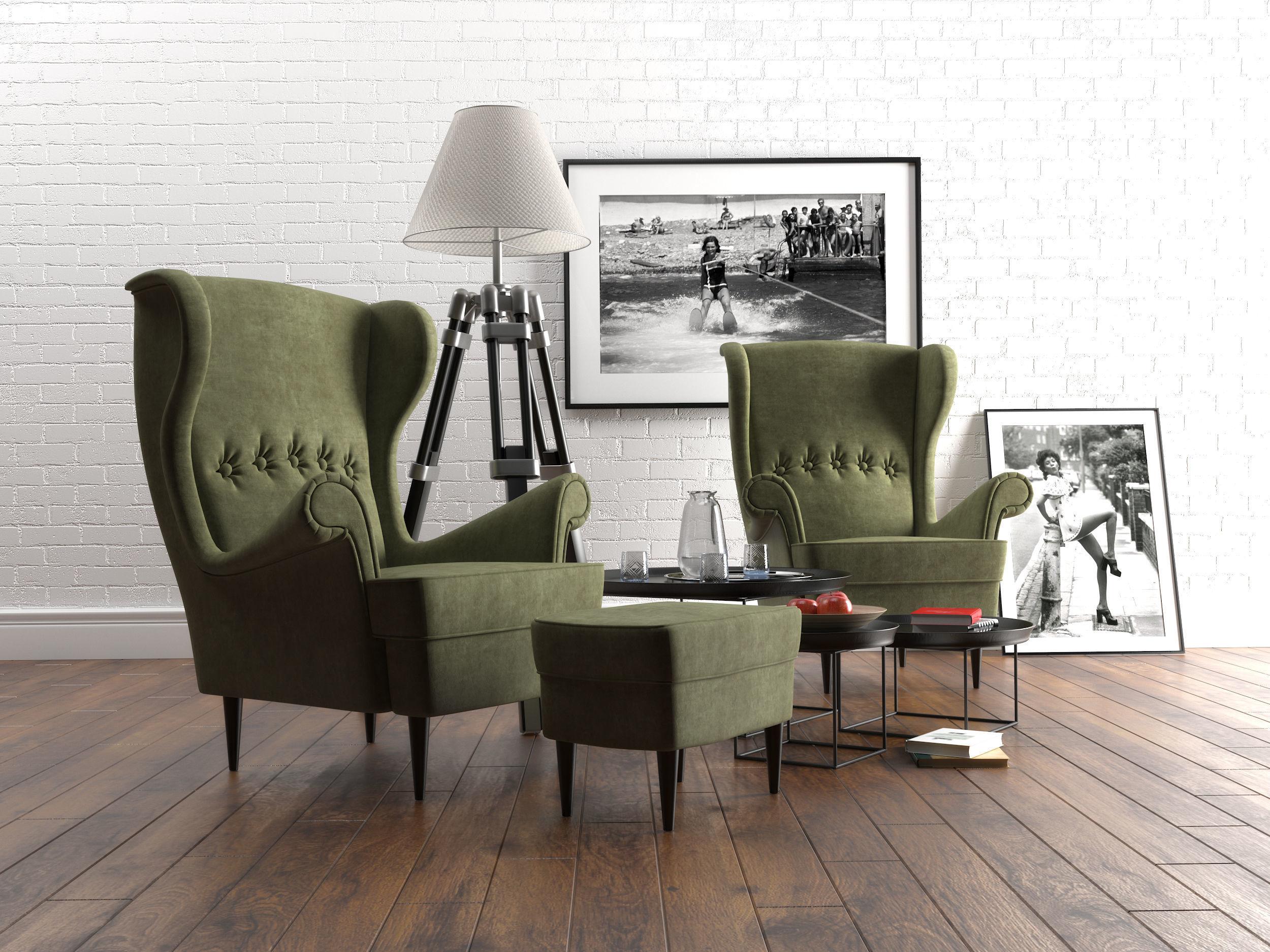 ikea strandmon armchair set 3d model max obj mtl 3ds fbx mat
