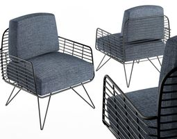 3D model Armchair Modern with metal tile