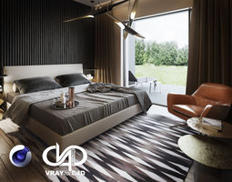 3D Bedroom Interior Scene for Cinema 4D and Vray