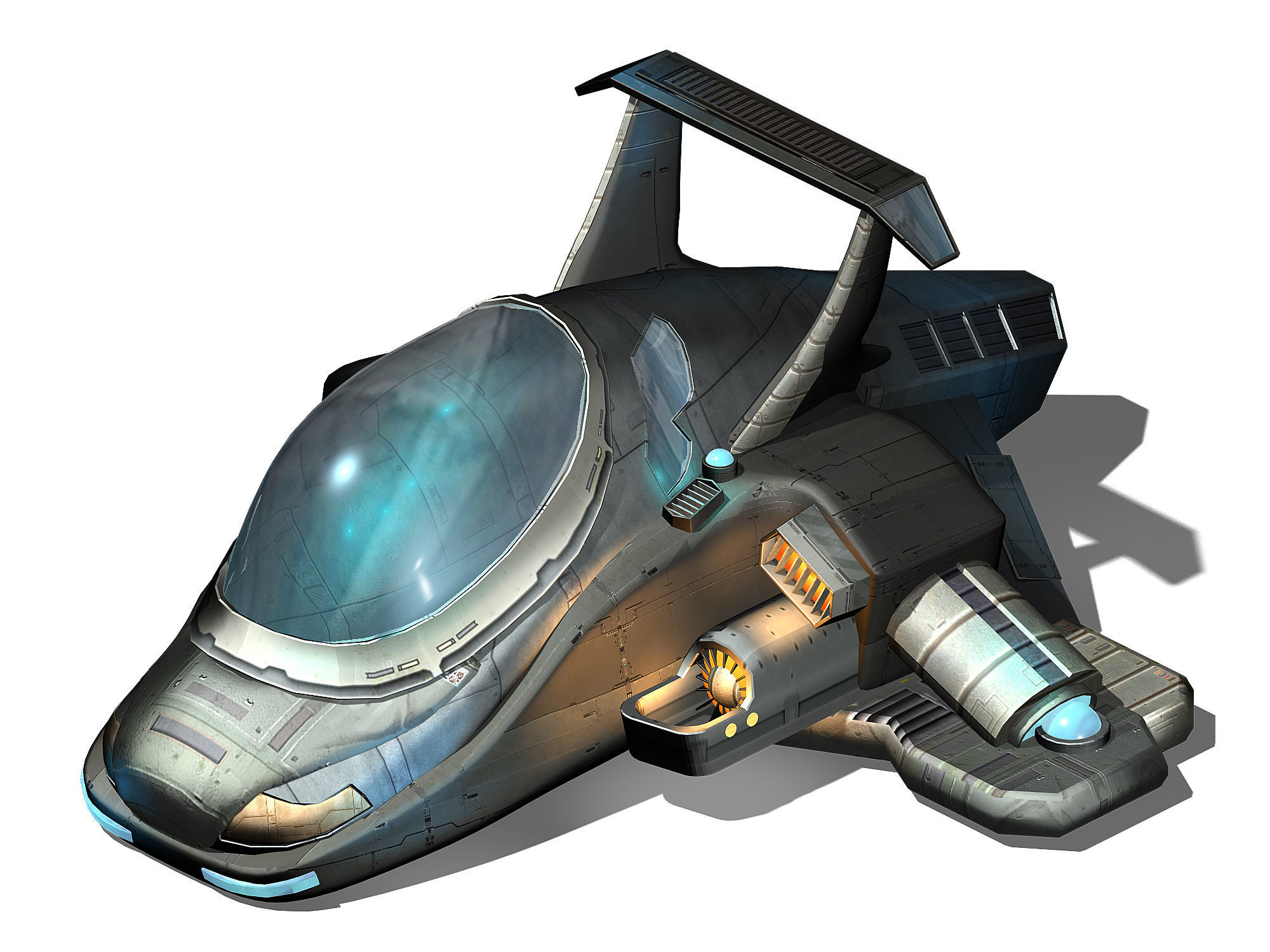Spaceship medium poly 3D | CGTrader