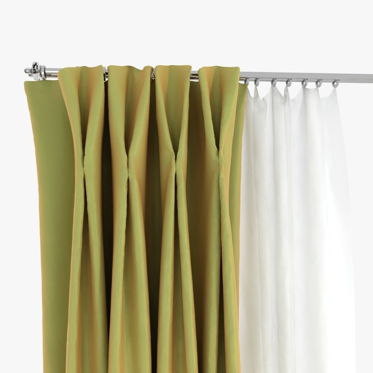 Double Pinch Pleat Curtains 3D | CGTrader