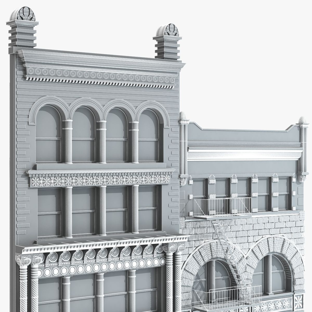 ... Building Facade 3d Model Max Obj Fbx Mtl 5 ...