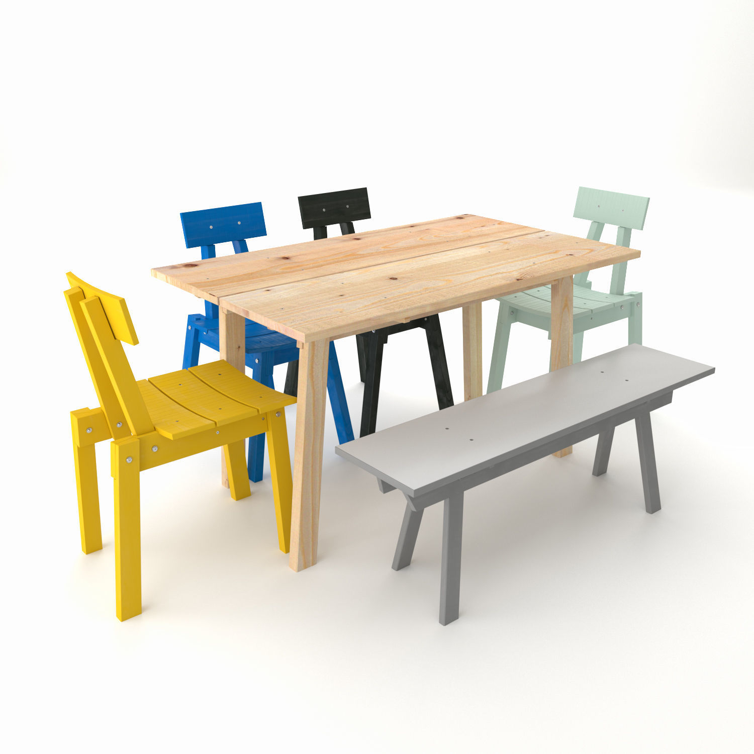 Industriell Ikea Table Bench Chair 2018 3d Model