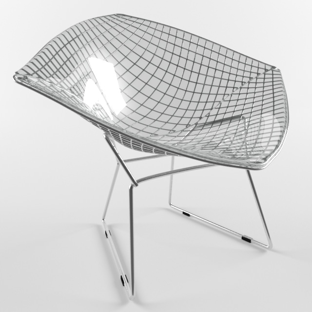 Diamond Chair Harry Bertoia Knoll Studio 3d Model Low Poly Max Obj 3ds Fbx  Mtl