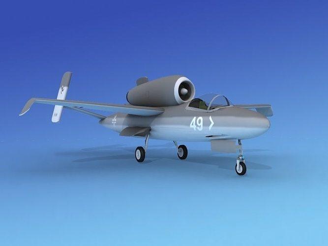 heinkel he 162 volksjaeger v12 3d model max obj mtl 3ds lwo lw lws dxf 3dm 1