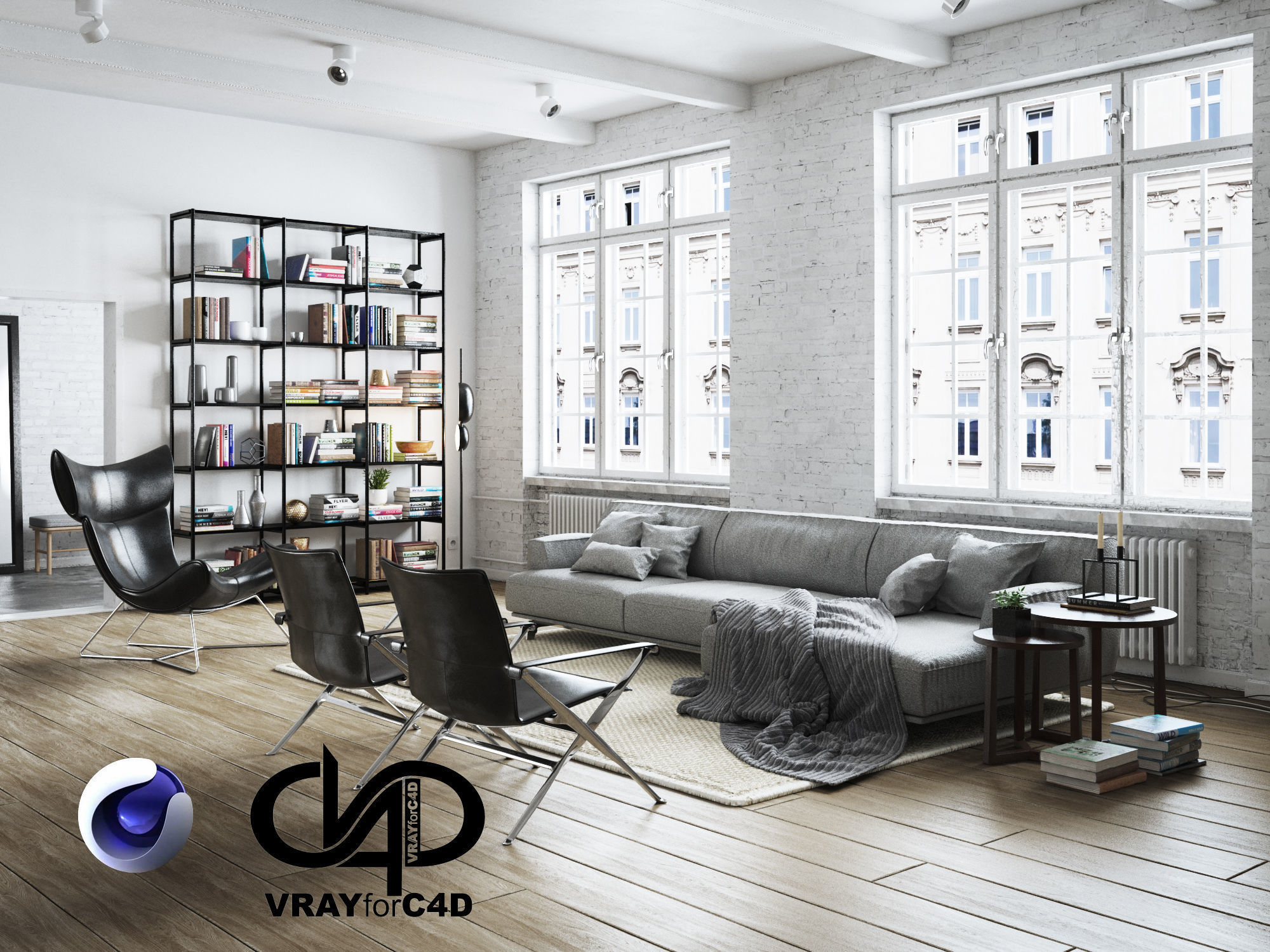 Living Room Interior Scene for Cinema 4D and Vray