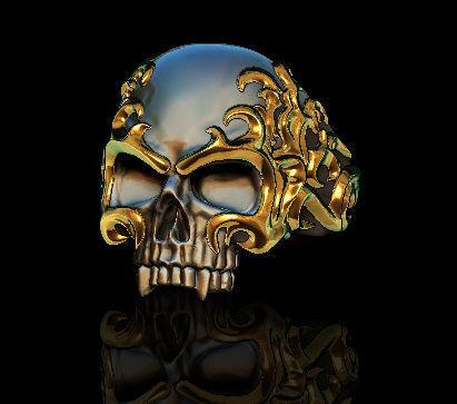 Flame skull ring