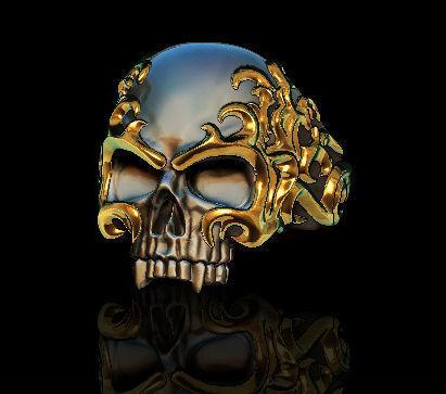 flame skull ring 3d model obj mtl stl 1
