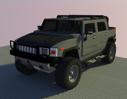 3D asset realtime Hummer Military Jeep