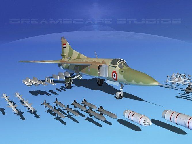 mig-23 fighter libya 3d model max obj mtl 3ds lwo lw lws dxf stl 1