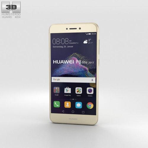 huawei p8 lite 2017 gold 3d model max obj mtl 3ds fbx c4d lwo lw lws 1