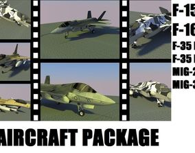3D asset low-poly Aircraft Package