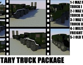 MILITARY FREIGHT TRUCK PACKAGE 3D model