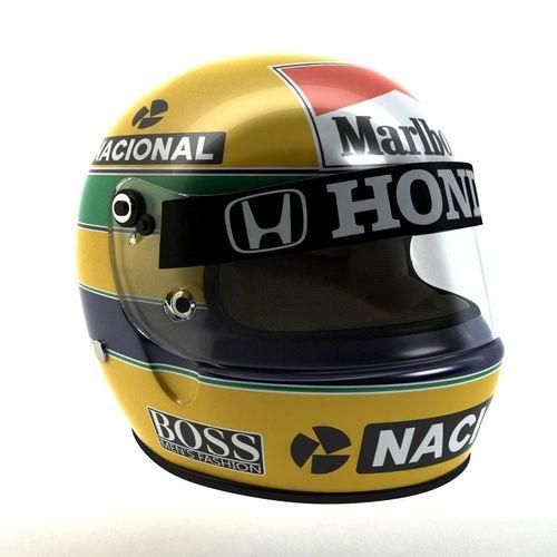 ayrton senna helmet 1988 3d model low-poly rigged max obj mtl 3ds fbx 1