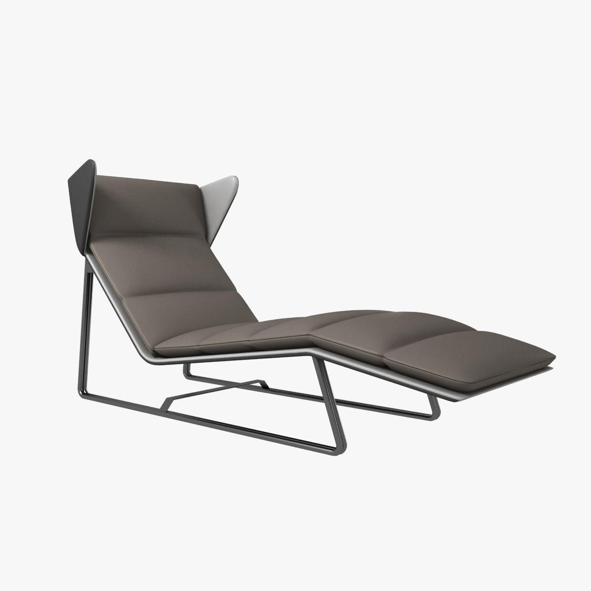 Modern chaise outdoor - Esedra Romea Modern Chaise Lounge 3d Model