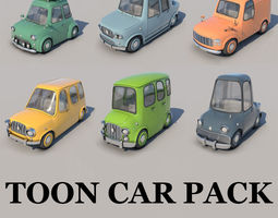 3D Toon Cars Pack - 6 Pieces