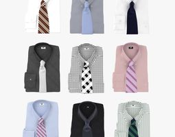 3d model collection of shirt with tie