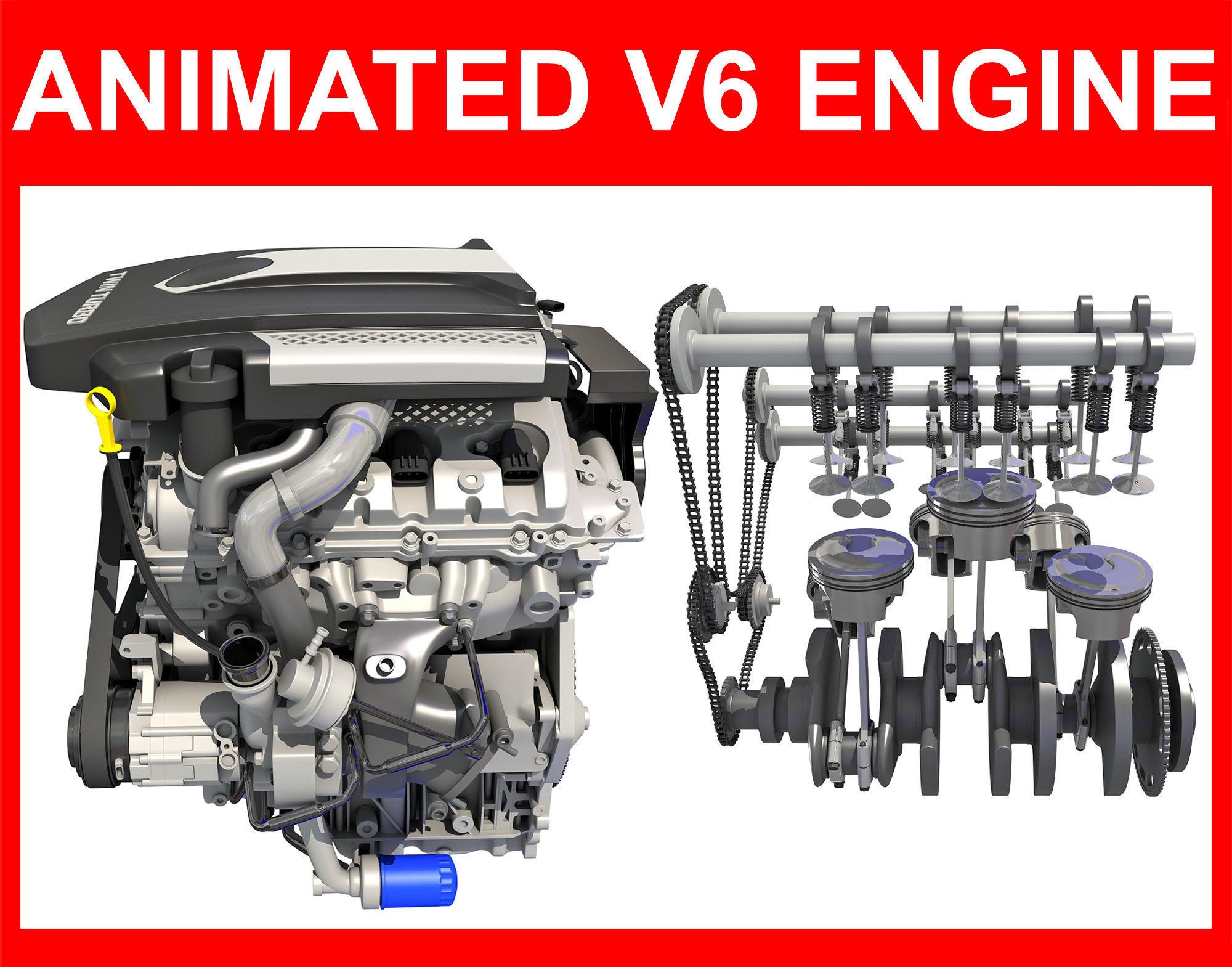 Animated V6 Engine