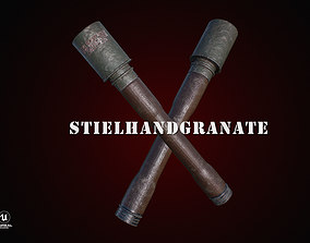 3D asset Stielhandgranate - German Handle Grenade