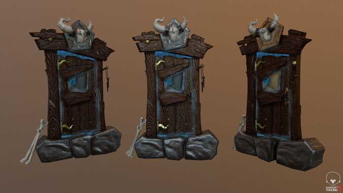 stylized old west door 3d model low-poly fbx 1