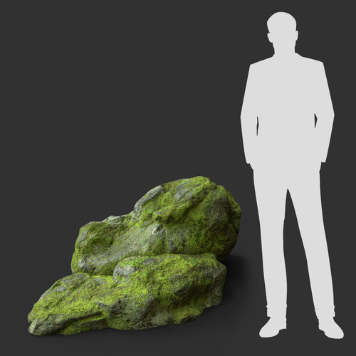 low poly jungle mossy modular rock 5 3d model low-poly max obj mtl 3ds fbx dae 1