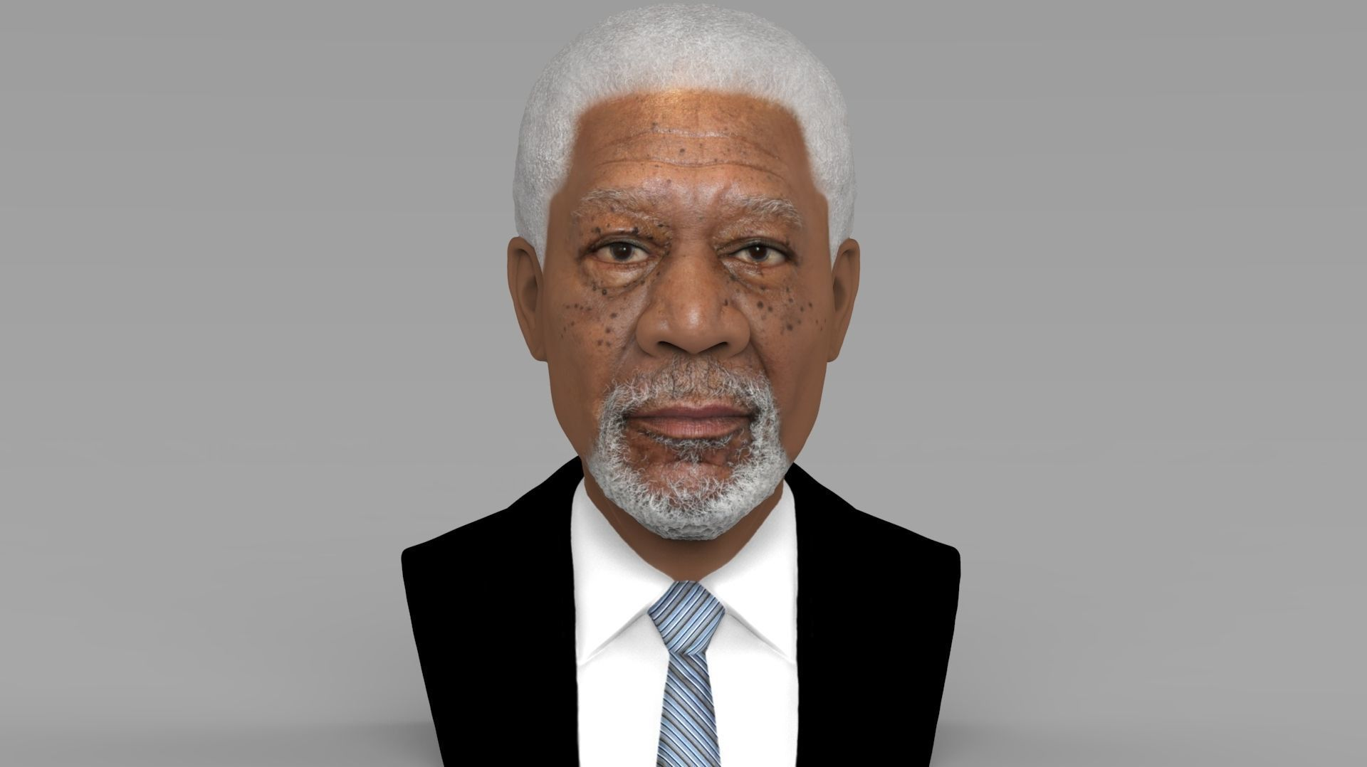 Morgan Freeman bust ready for full color 3D printing