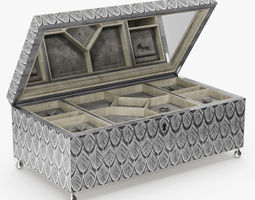 3D David Linley - Silver dove jewelry box