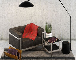 Sofa M3 3 Seater with Lamp Industry West Opinion 3D asset