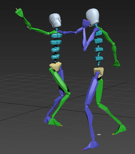 dance 2 3d model rigged animated max fbx bip bvh 1