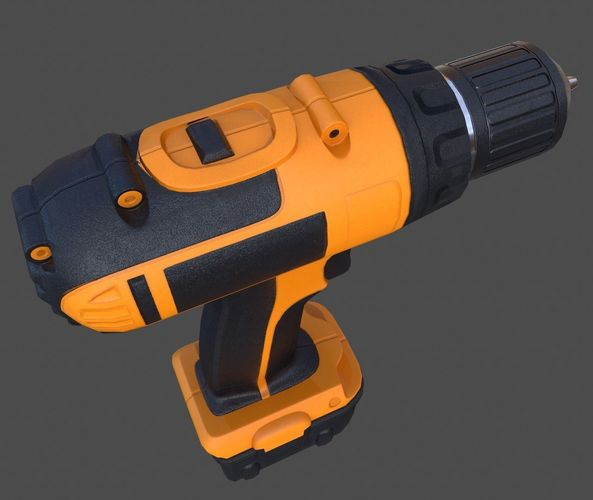 cordless drill - pbr 3d model obj mtl fbx ma mb tga unitypackage prefab 1