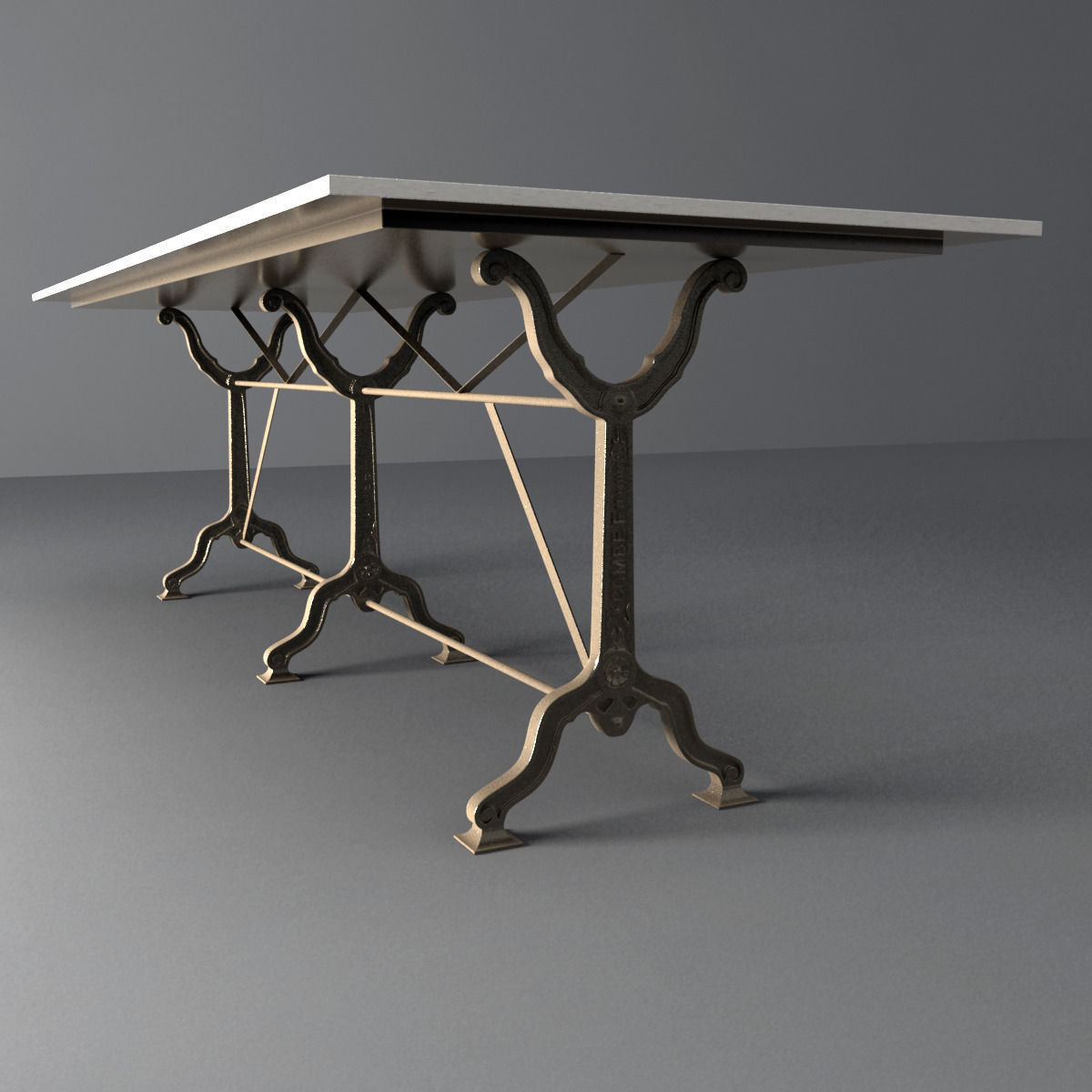 Dining Table Models restoration hardware factory zinc cast iron dining tables 3d model