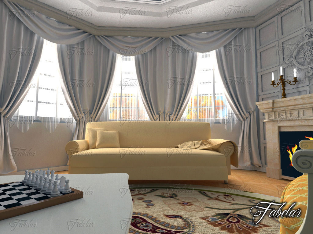 ... Living Room 3d Model Max Obj 3ds Fbx C4d Dae 4 ...
