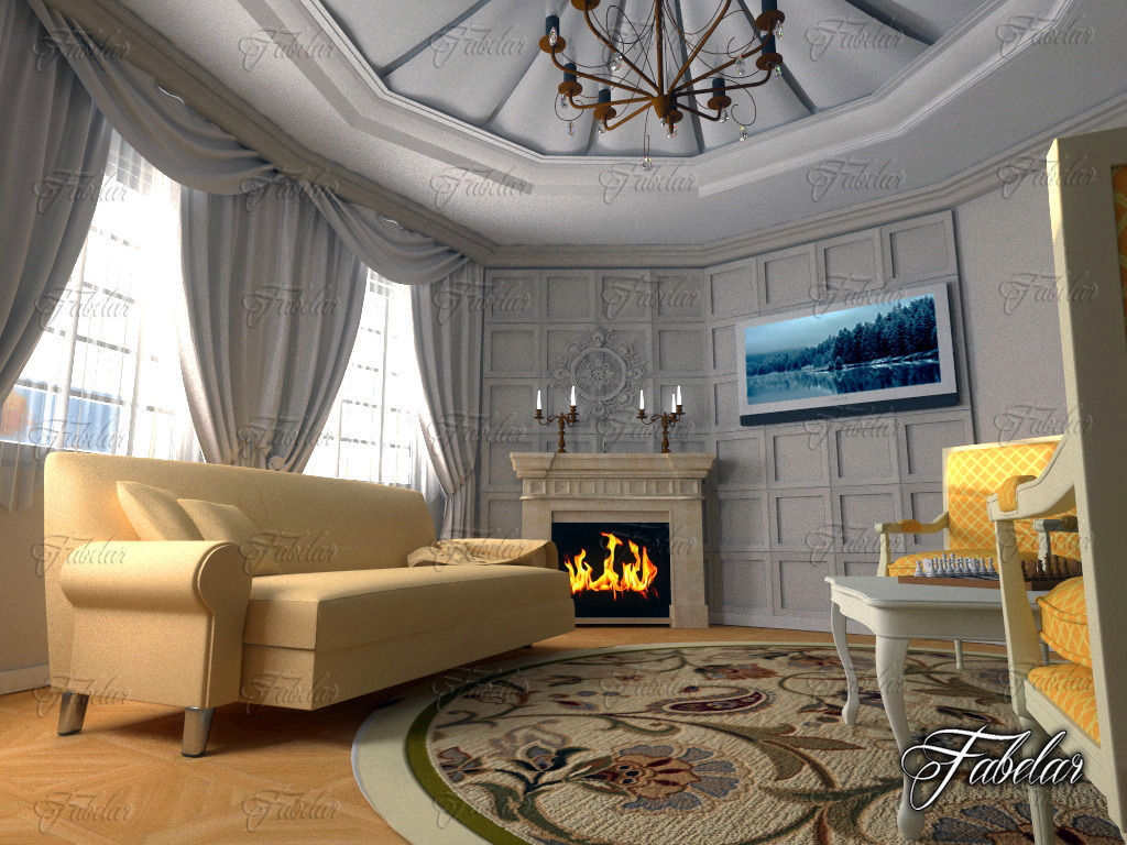 ... Living Room 3d Model Max Obj 3ds Fbx C4d Dae 3 ...