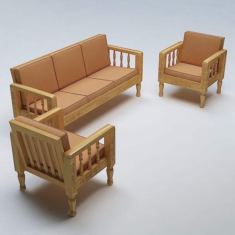 Sofa set wooden 3d model max obj 3ds fbx lwo lw lws mtl for Sofa 3d model