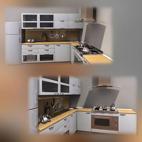 Kitchen furniture set 3d model cgtrader for Kitchen set 3d warehouse