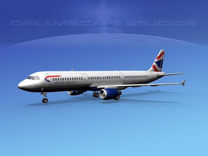 airbus a321 british airways 3d model max obj mtl 3ds lwo lw lws dxf stl 1