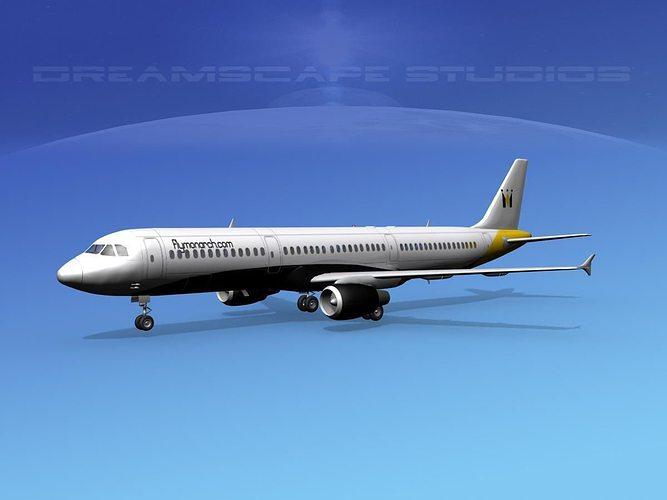 airbus a321 monarch 3d model max obj mtl 3ds lwo lw lws dxf stl 1