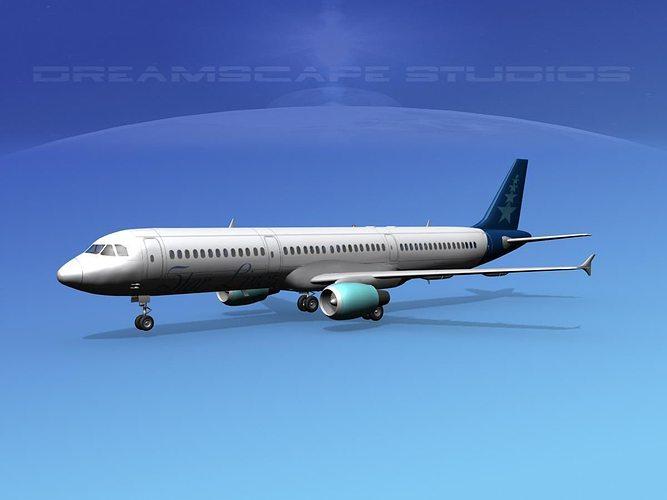 airbus a321 star lines 3d model max obj mtl 3ds lwo lw lws dxf stl 1