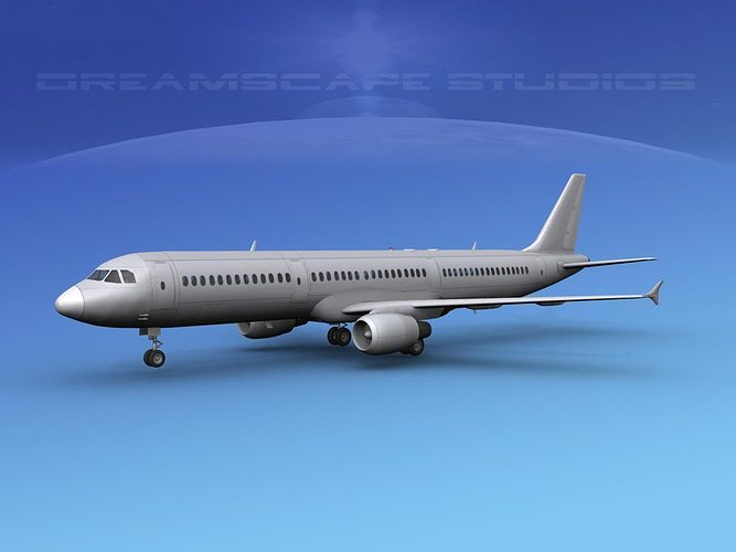 airbus a321 unmarked 2 3d model max obj mtl 3ds lwo lw lws dxf stl 1