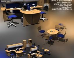 3d asset office set 9 low-poly