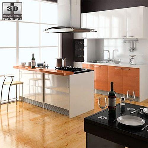 3d model kitchen set cgtrader for Kitchen set 3d warehouse